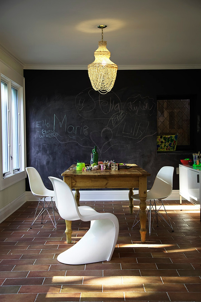Eclectic home office has a casual, modern vibe