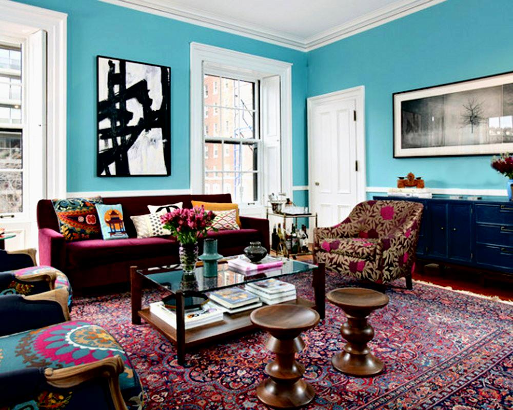 Magnificent-Glass-Top-Table-and-Round-Stools-inside-Eclectic-Living-Room-Design-Ideas-with-Colorful-Sofas