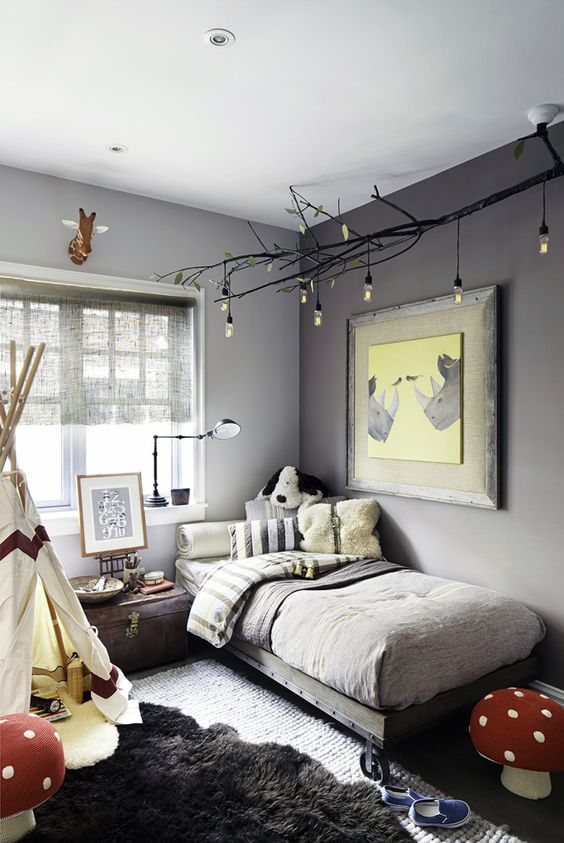 child room decorate with tones of grey, yellow and red