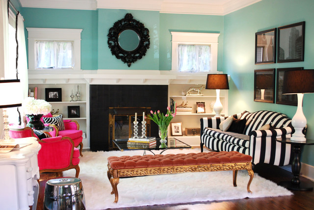 eclectic-living-room blue with black and white accents