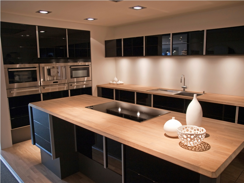 Modern design trendy kitchen with black and wood elements