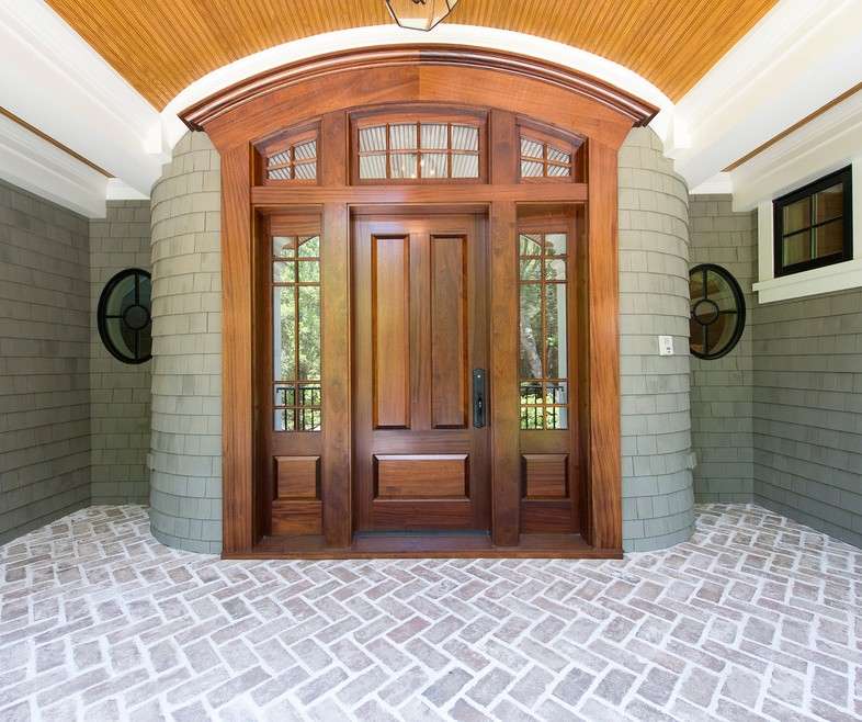 Front Doors with Side Panels Traditional Entry with Wood Front Door