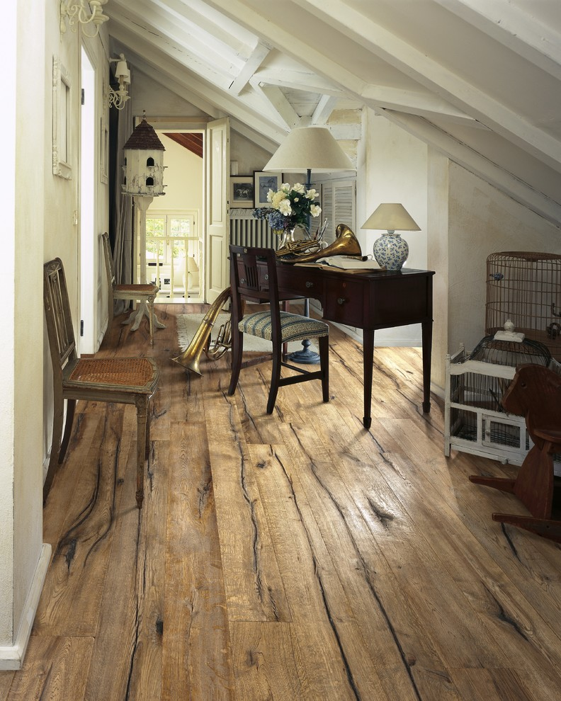 Home Office Farmhouse with next to Vintage Wire Bird Cage