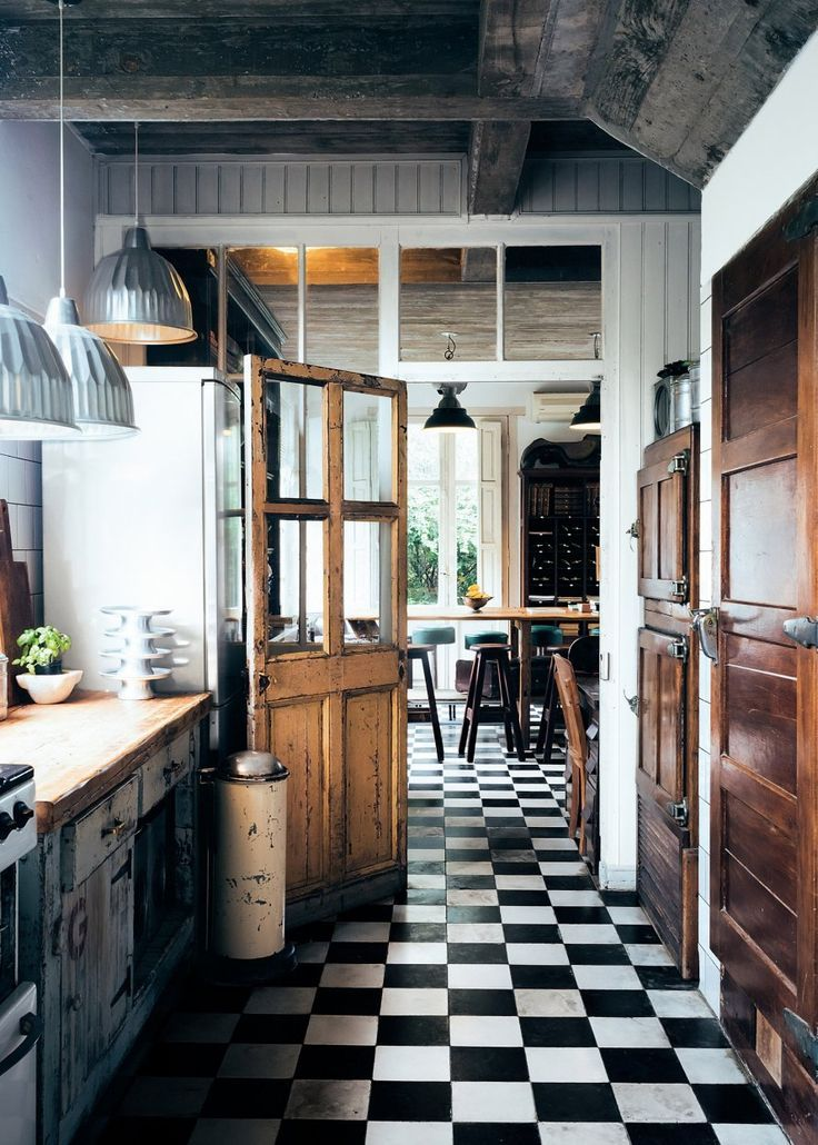 Kitchen with timber cupboards