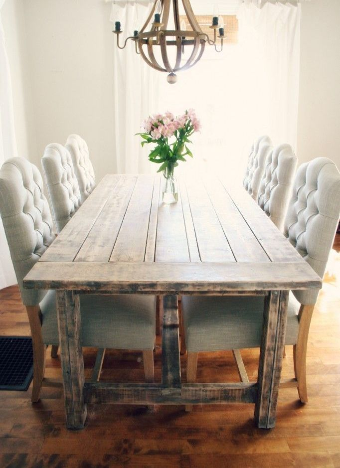 Rustic dining table with tufted Wicker Emporium dining chairs
