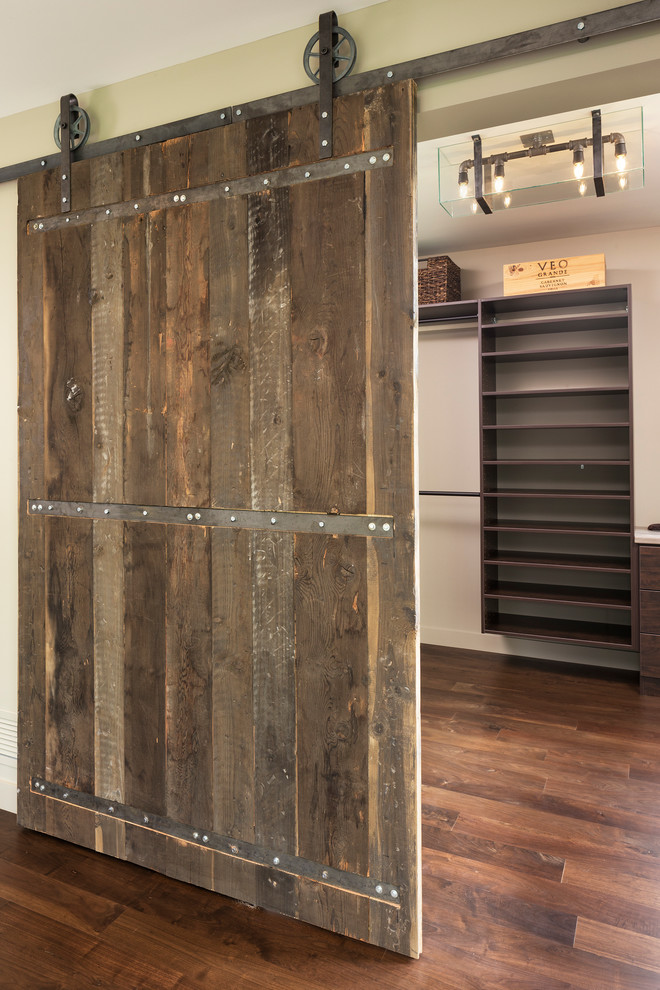 Closet With Rustic Wooden Slider