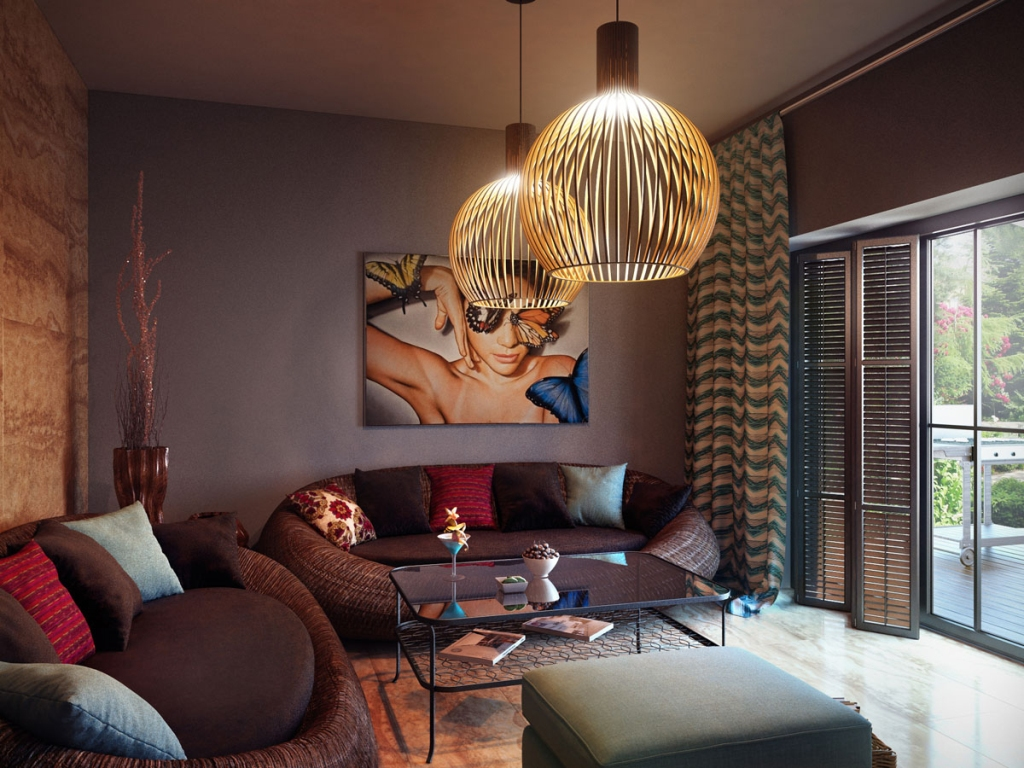 Cozy Stylish Modern Living Room With Large Artwork Display
