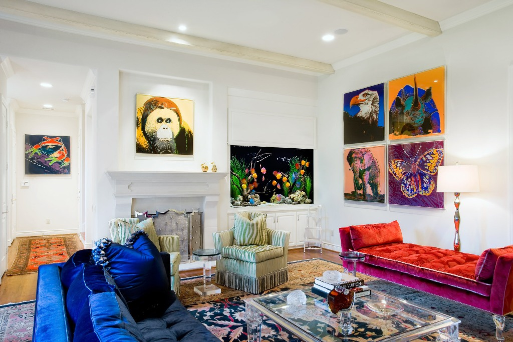 Industrial Living Room with Colorful Animals Artwork