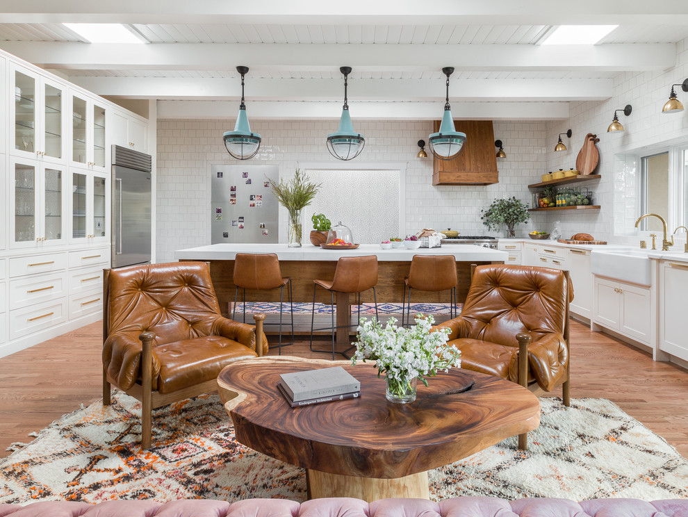 Bright Eclectic kitchen With One Side Living Room Dwellingdecor