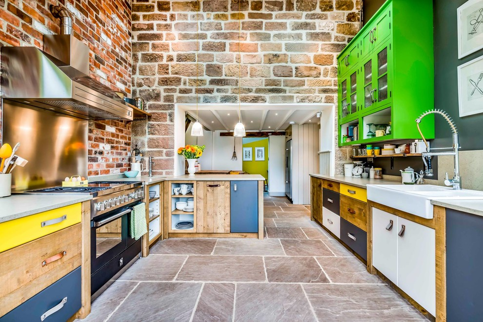 Eclectic Kitchen Design With Exposed Brick Wall & Artifact Lighting Dwellingdecor