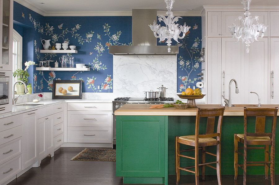Eclectic Kitchen With Buther Block Wallpapered Wall Dwellingdecor