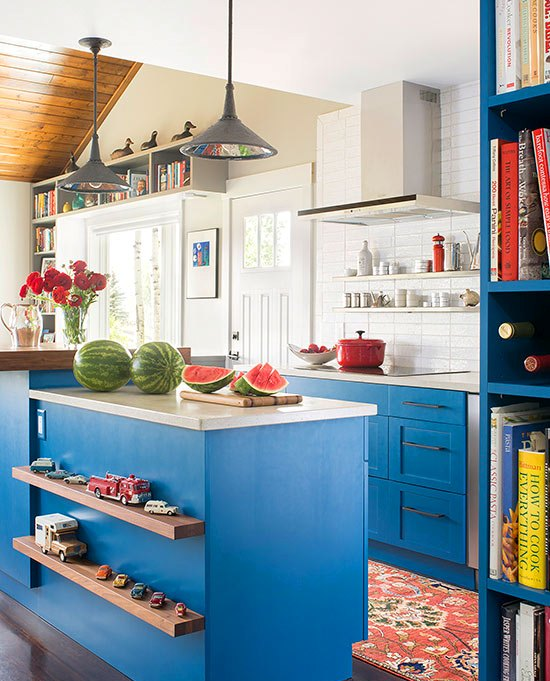 Eclectic Kitchen With Sky Blue Paint & Traditional Shaker-style Cabinets Dwellingdecor