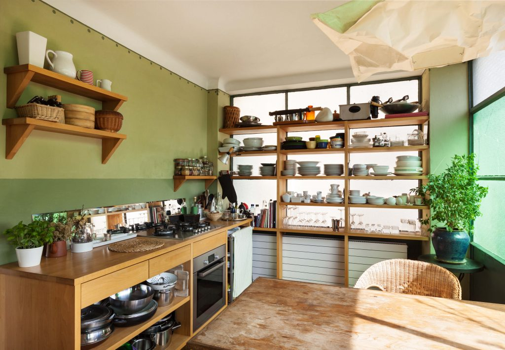 Eclectic Kitchen With Wooden Shelves Dwellingdecor