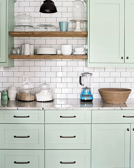 Cool Mint Kitchen Cabinets With Wooden Shelves dwellingdecor