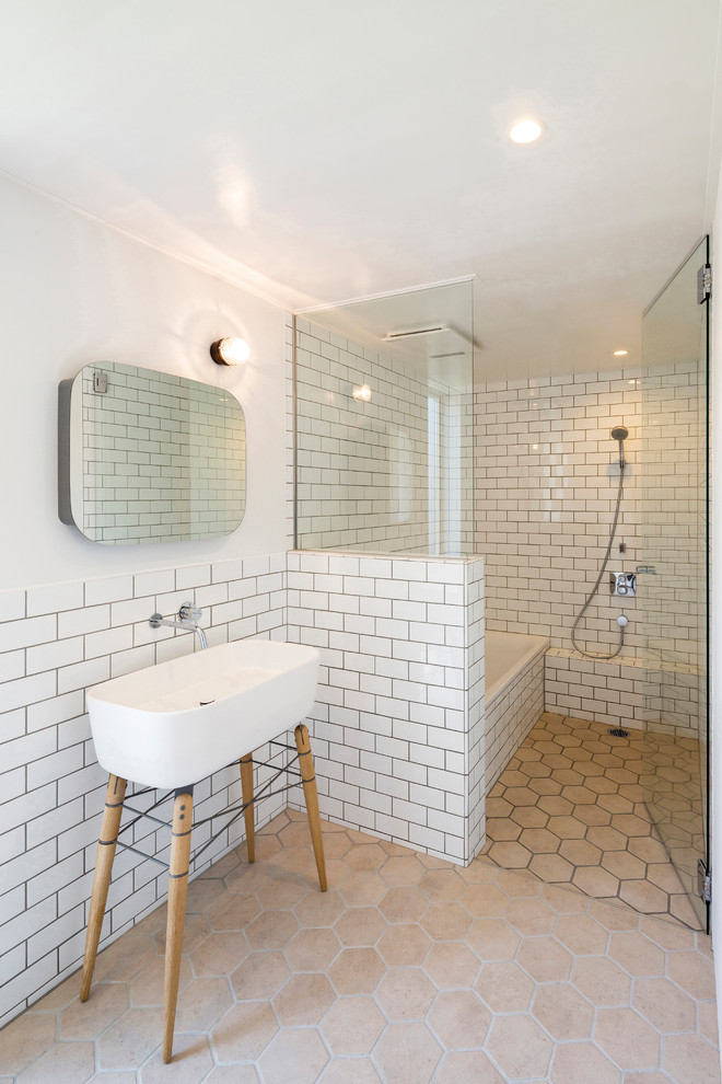 Scandinavian Bathroom With Subway Tiles & Drop in Bathtub dwellingdecor
