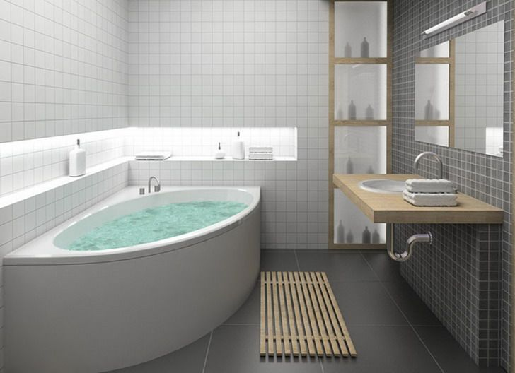 Small Modern Corner Bathtub Redesigning With Grey Flooring dwellingdecor