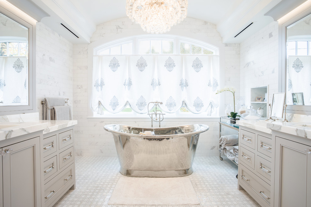 Transitional Master White floor Freestanding Bathtub Dwellingdecor