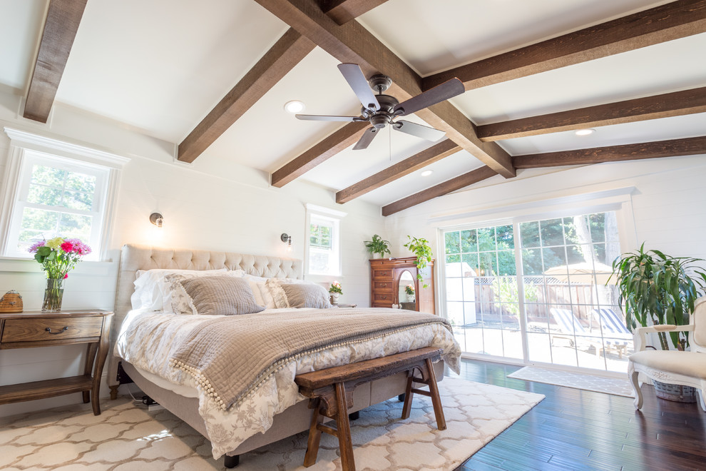 Farmhouse Bedroom Design With Wooden Beam & Large window