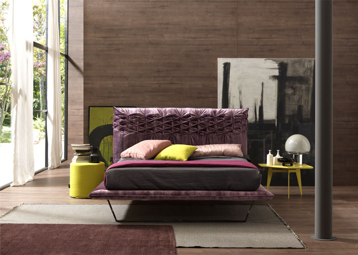 Retro Style Bedroom With Fabric Bed