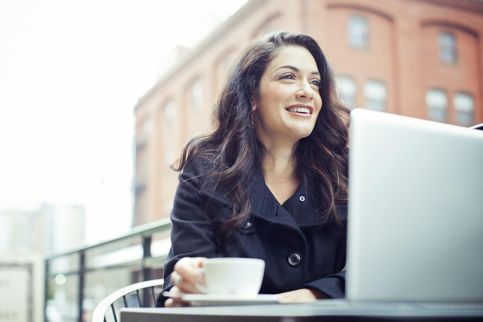 Coffee Break Business Woman Outdoors