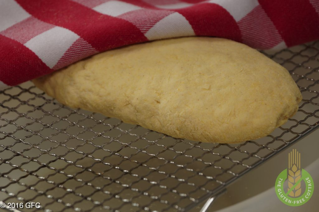 The dough is resting for about 20 minutes over a warm water bath to rise again (gluten-free French bread or white bread).