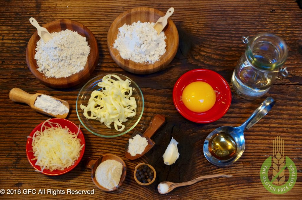 Ingredients for a savory gluten-free pie crust (gluten-free quiche Lorraine).