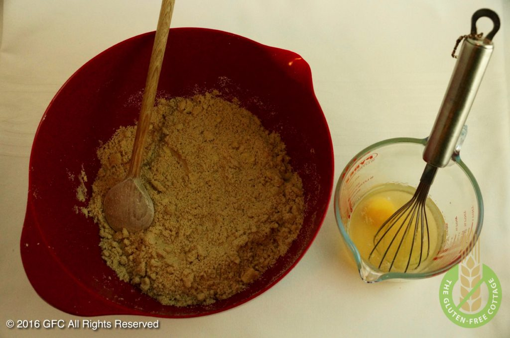 Mix liquid ingredients and then add to butter-flour crumbs (gluten-free upside down apple pie/ tarte tatin).