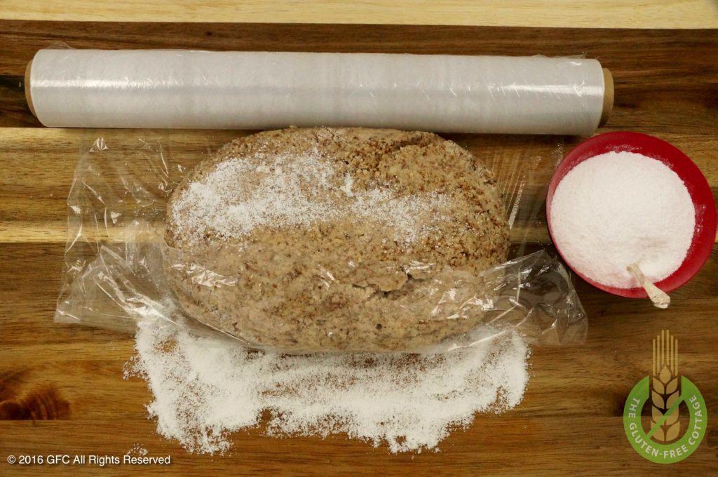 Wrap dough in plastic (gluten-free cinnamon cookies).