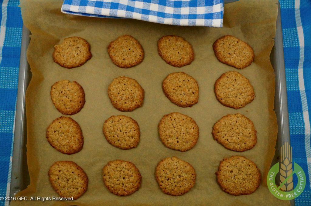 Let cookies cool (gluten-free oatmeal cookies).