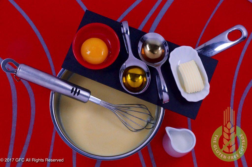 Wet ingredients: milk, butter, egg, canola oil and apple vinegar (gluten-free eggs Benedict/ gluten-free English muffins).