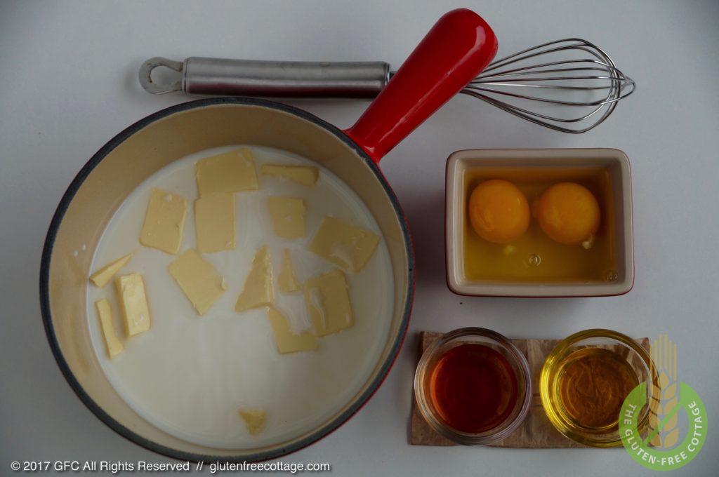 Wet ingredients: milk, unsalted butter, eggs, canola oil and apple cider vinegar (gluten-free cinnamon rolls / Danish).