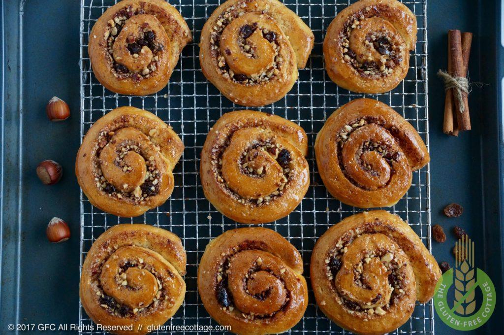 Baked and glazed gluten-free cinnamon rolls (Danish).