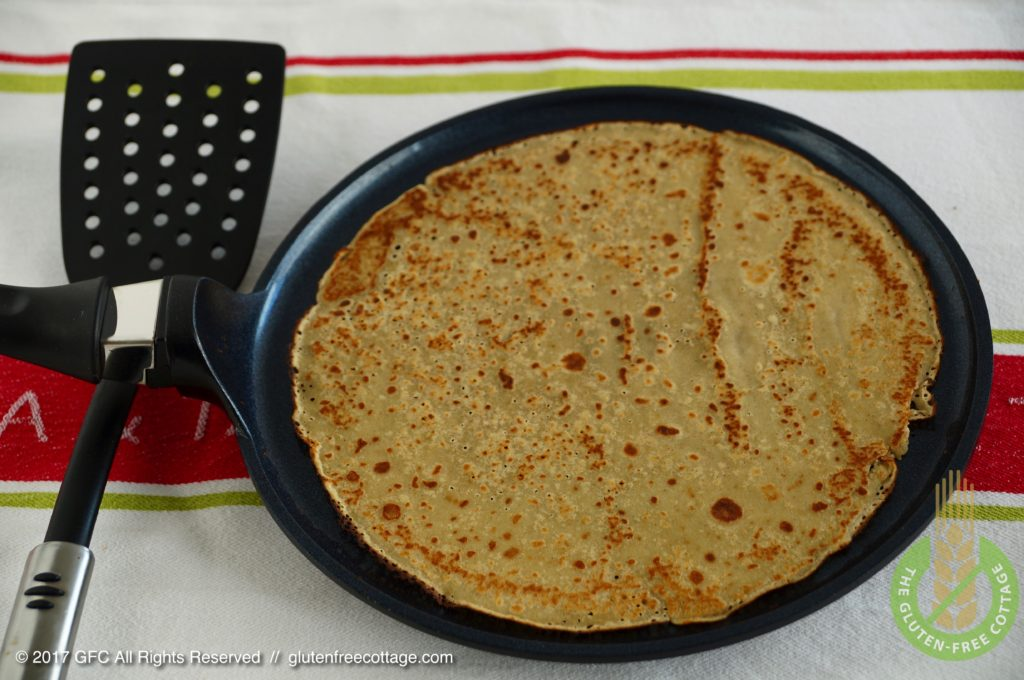Best use a non-stick turner to swiftly turn the crepe (gluten-free sweet and savory crepes).
