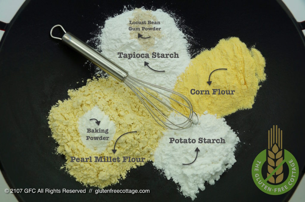 "Ingredients for the ""Flour-Starch-Mix (gluten-free lemon cake)."