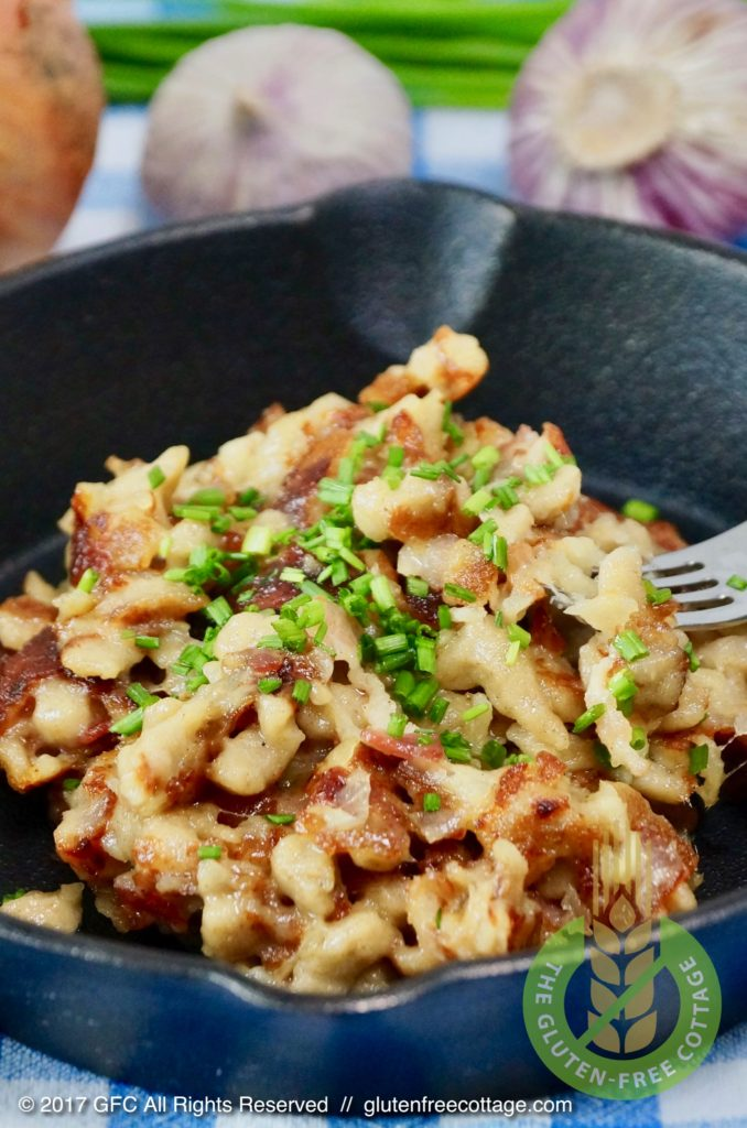 Gluten-free spaetzle (gluten-free cheese spaetzle with bacon and onion).