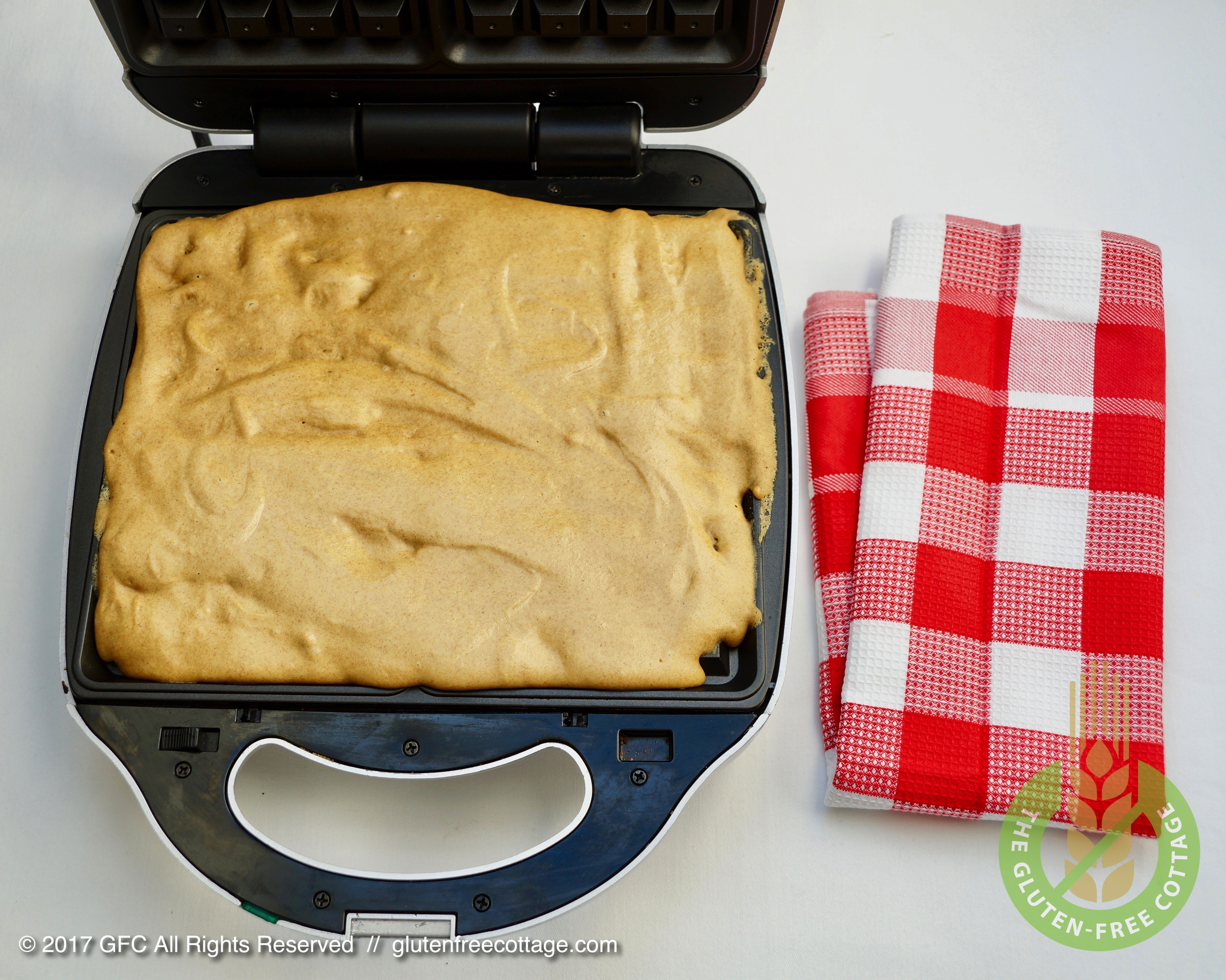 Pour gluten-free batter into waffle maker and let bake (gluten-free waffles).