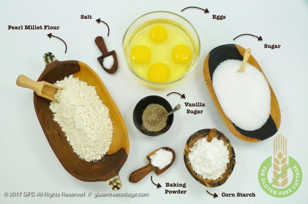 Ingredients for gluten-free batter (gluten-free banana cake with chocolate glaze).