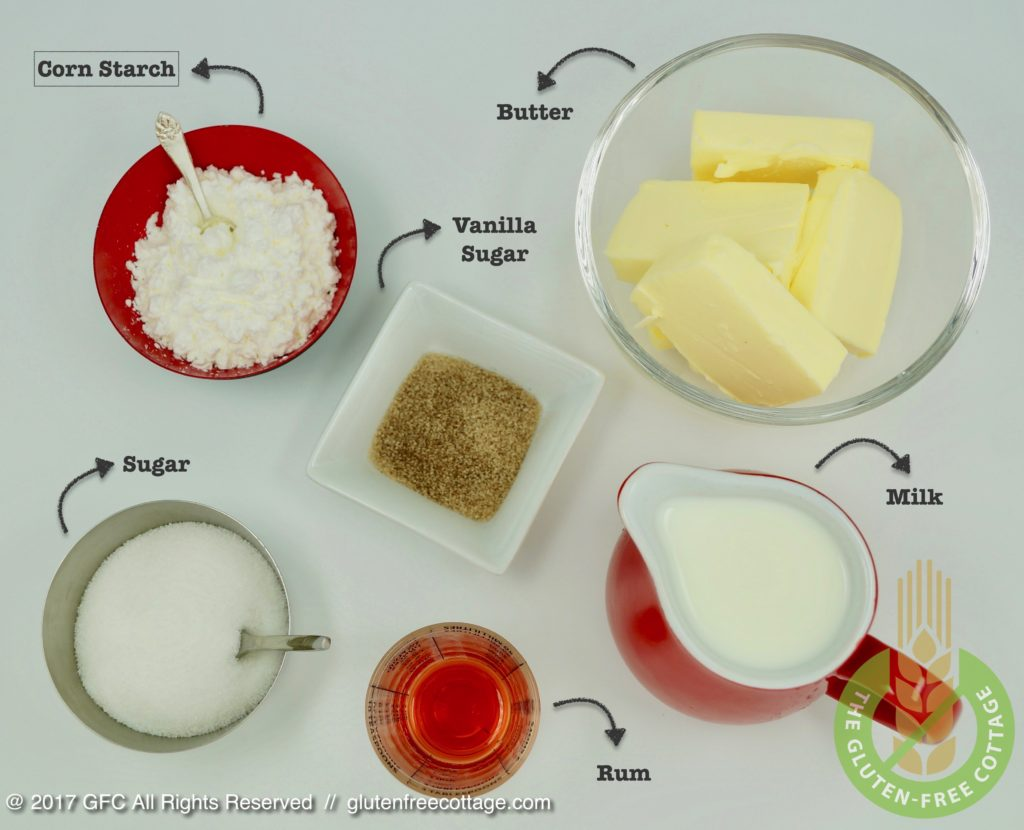 Ingredients for cream filling (gluten-free banana cake with chocolate glaze).