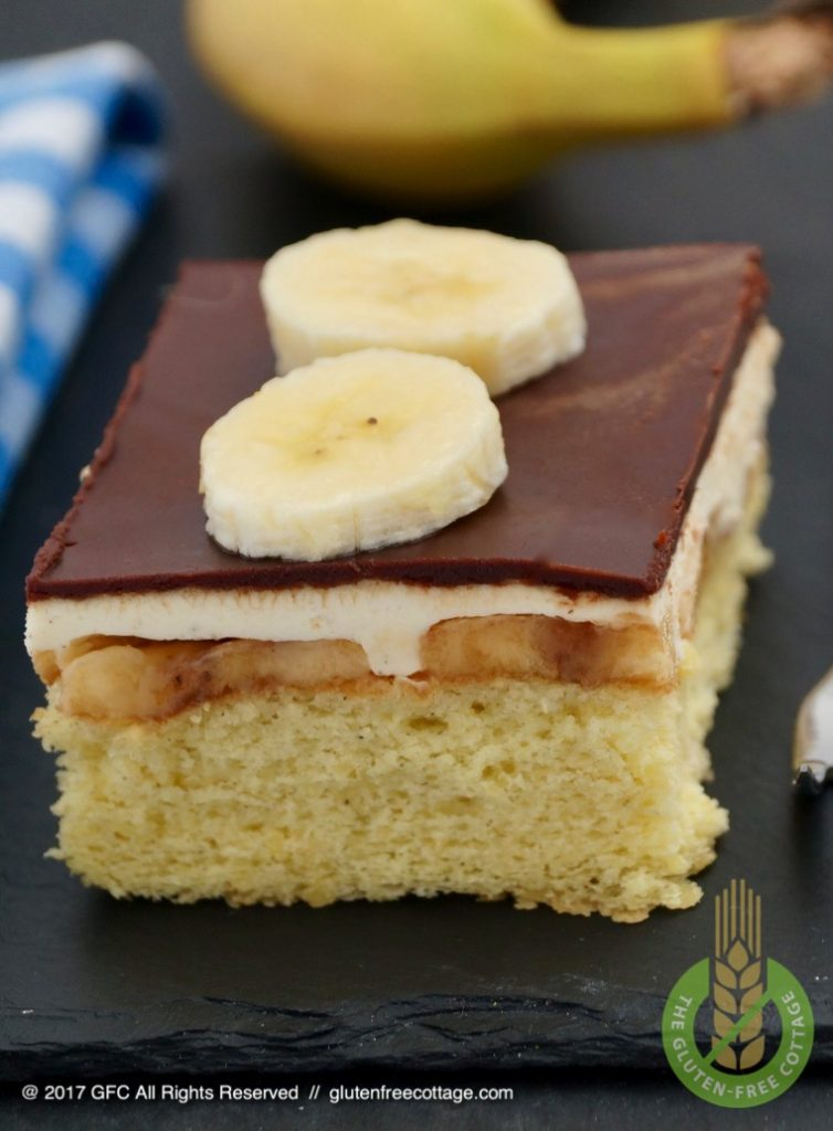 Piece of gluten-free banana cake with chocolate glaze.