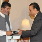 Ahmed Baksh Lehri, as Federal Secretary Education, Presenting a report to President Zardari