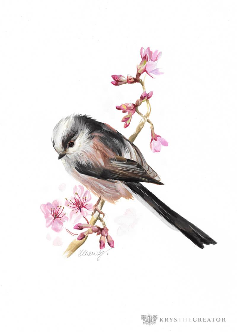 Long-tailed tit bird gouache painting