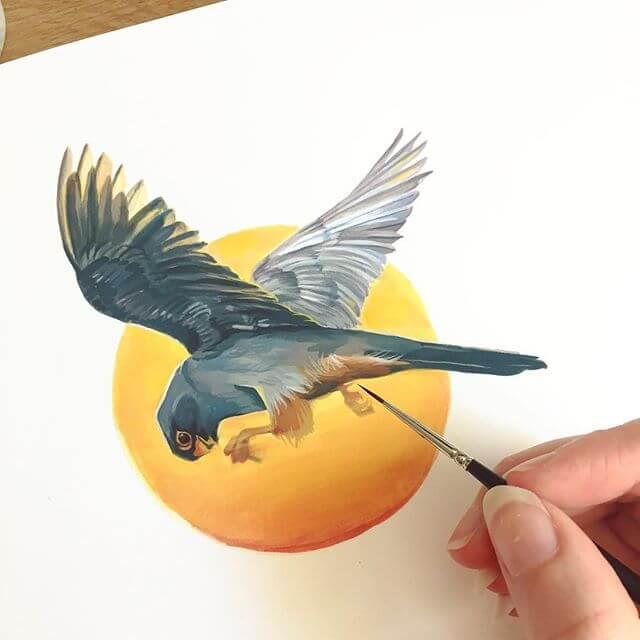 Falcon bird painting progress