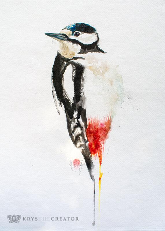 Great Spotted Woodpecker Watercolour Bird Art