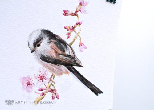 Long tailed tit bird art print