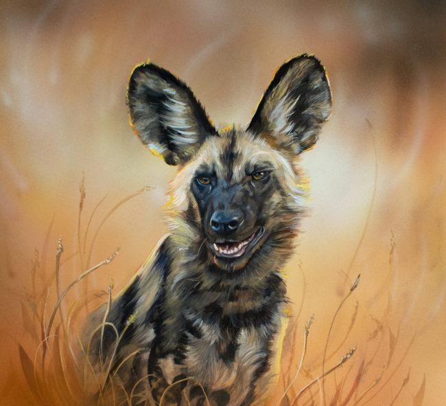 Painted Wolf Wildlife Art Painting by Krysten Newby