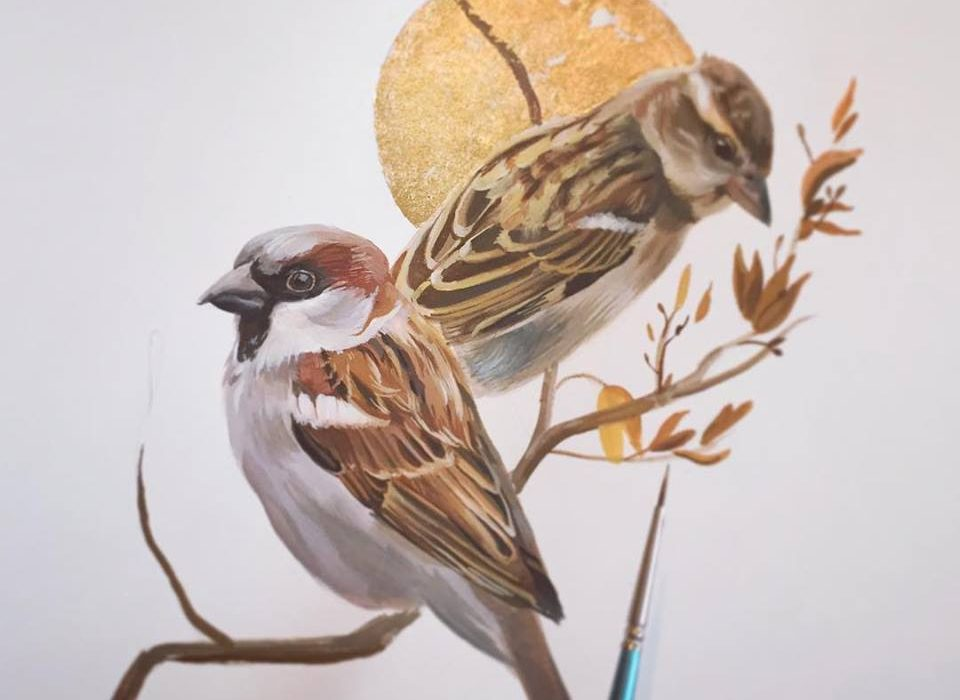 Two House Sparrows Original Painting Gouache
