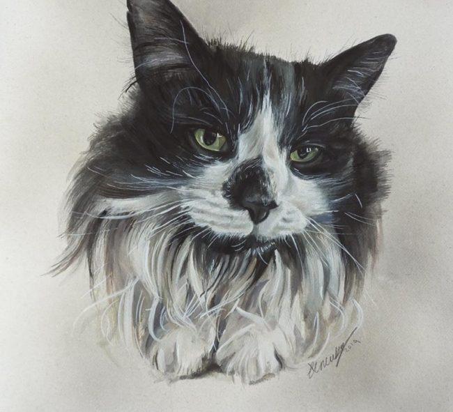 Cat pet Portrait Painting Watercolour