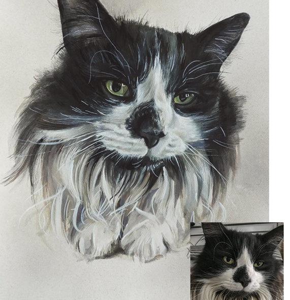 Gouache Painting Portrait of a Pet Black and White Cat