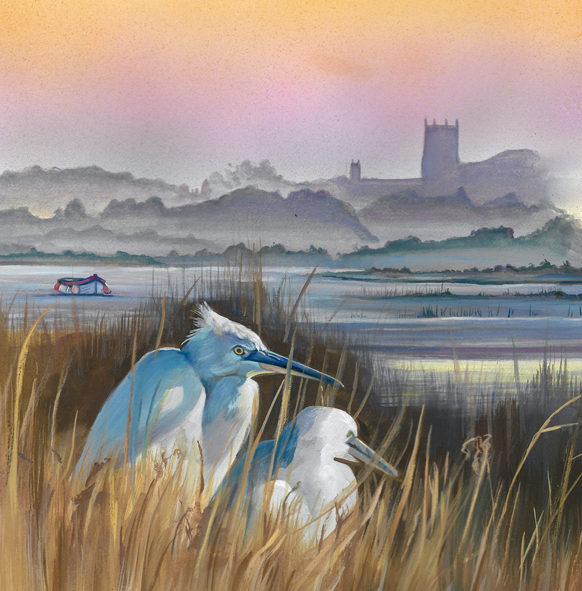 Wildlife Painting of Little Egrets in North Norfolk, Art