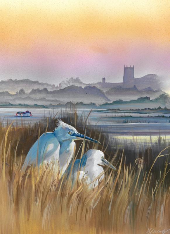 Wildlife Painting of Little Egrets in North Norfolk, Art